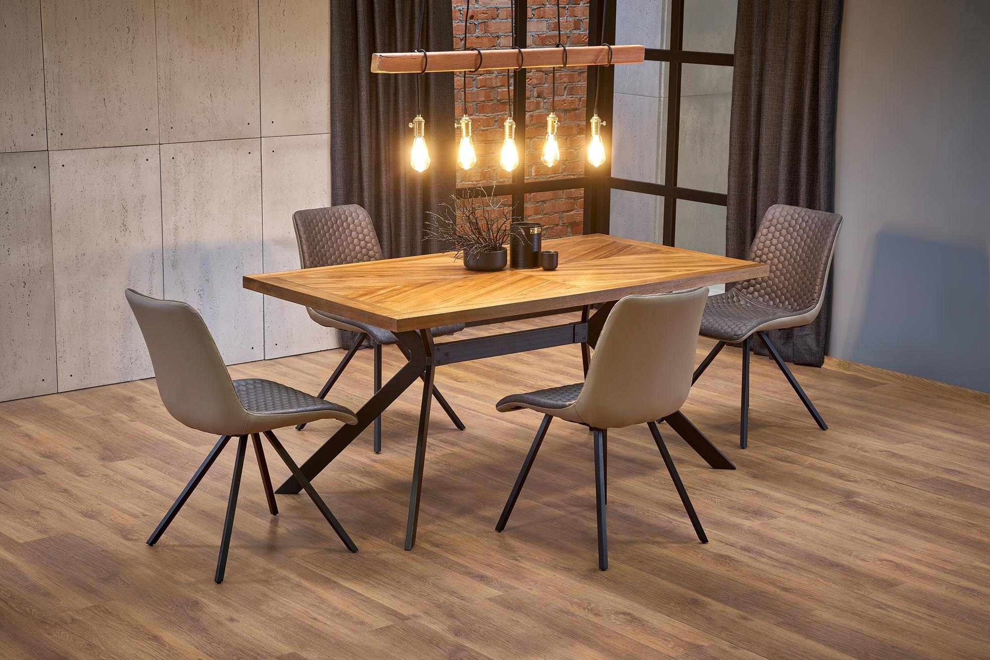 Set masa din MDF, furnir si metal Tyson Nuc / Negru + 4 scaune tapitate cu stofa si piele ecologica K394 Maro / Bej, L160xl90xH76 cm imagine