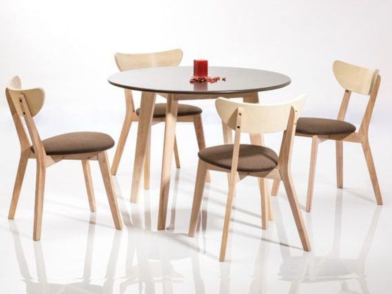 Set masa din MDF si lemn de stejar Helsinki Grey / Sonoma Oak + 4 scaune CD-37 Grey, Ø100xH75 cm imagine