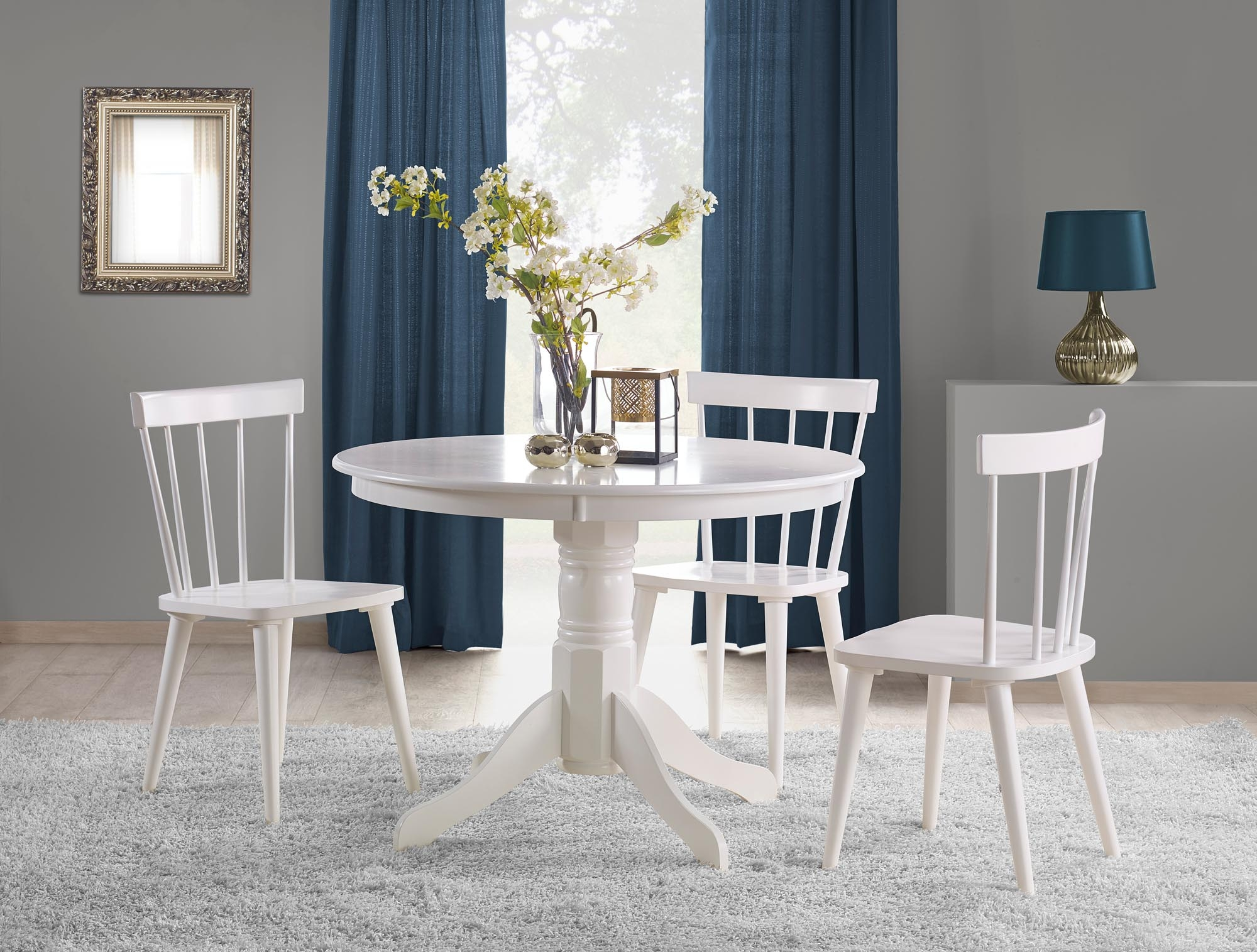 Set masa din MDF si lemn Gloster Alb + 4 scaune din lemn de cauciuc Barkley Alb, Ø106xH75 cm imagine