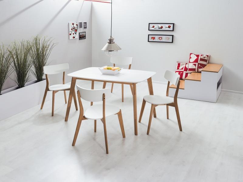 Set masa din MDF si lemn Mosso I Alb / Stejar + 4 scaune din lemn si MDF Mosso II Alb / Stejar, L120xl75xH75 cm imagine