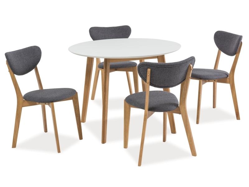 Set masa din MDF si lemn Mosso II Alb / Stejar + 4 scaune tapitate cu stofa Andre Gri / Stejar, Ø100xH75 cm imagine