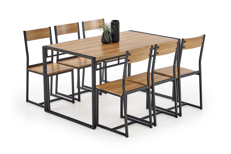 Set masa din MDF si metal + 6 scaune Bolivar Golden Oak / Black, L140xl80xH75 cm poza