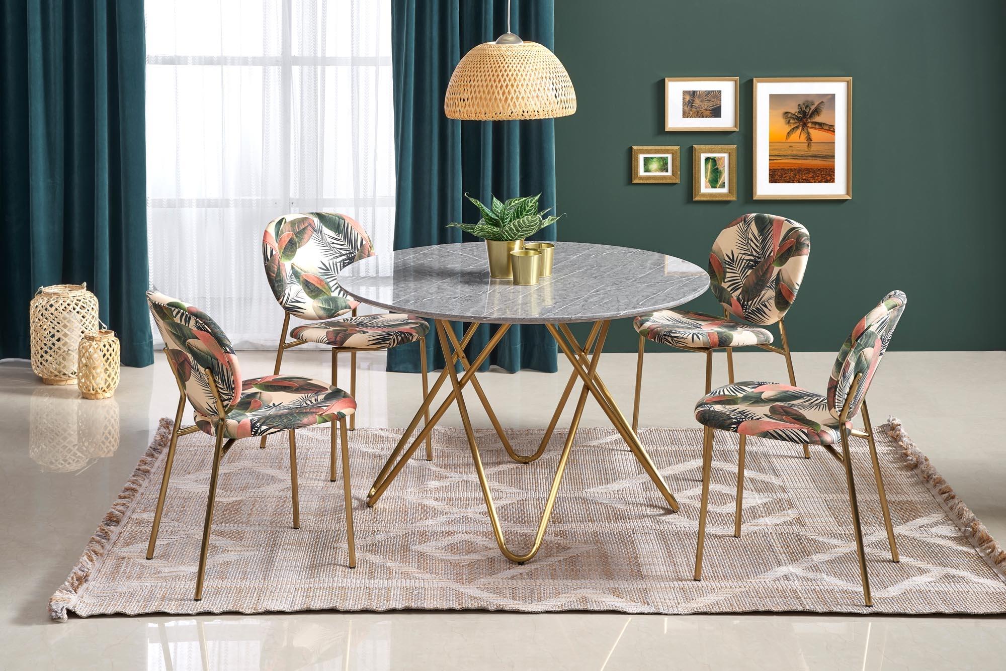 Set masa din MDF si metal Bonello Gri / Auriu + 4 scaune tapitate cu stofa K398 Multicolor / Auriu, Ø120xH76 cm imagine