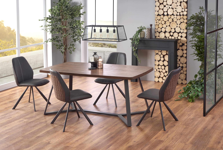 Set masa din MDF si metal Caruzzo Nuc / Grafit + 4 scaune tapitate cu stofa si piele ecologica K319 Maro / Negru, L180xl90xH76 cm poza