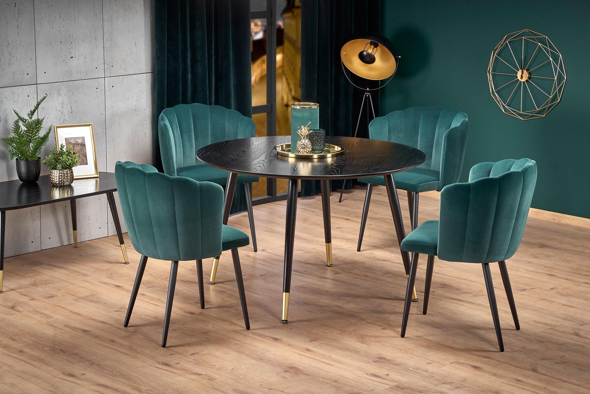 Set masa din MDF si metal Embos Negru / Auriu + 4 scaune tapitate cu stofa K386 Verde inchis / Negru, Ø120xH75 cm imagine