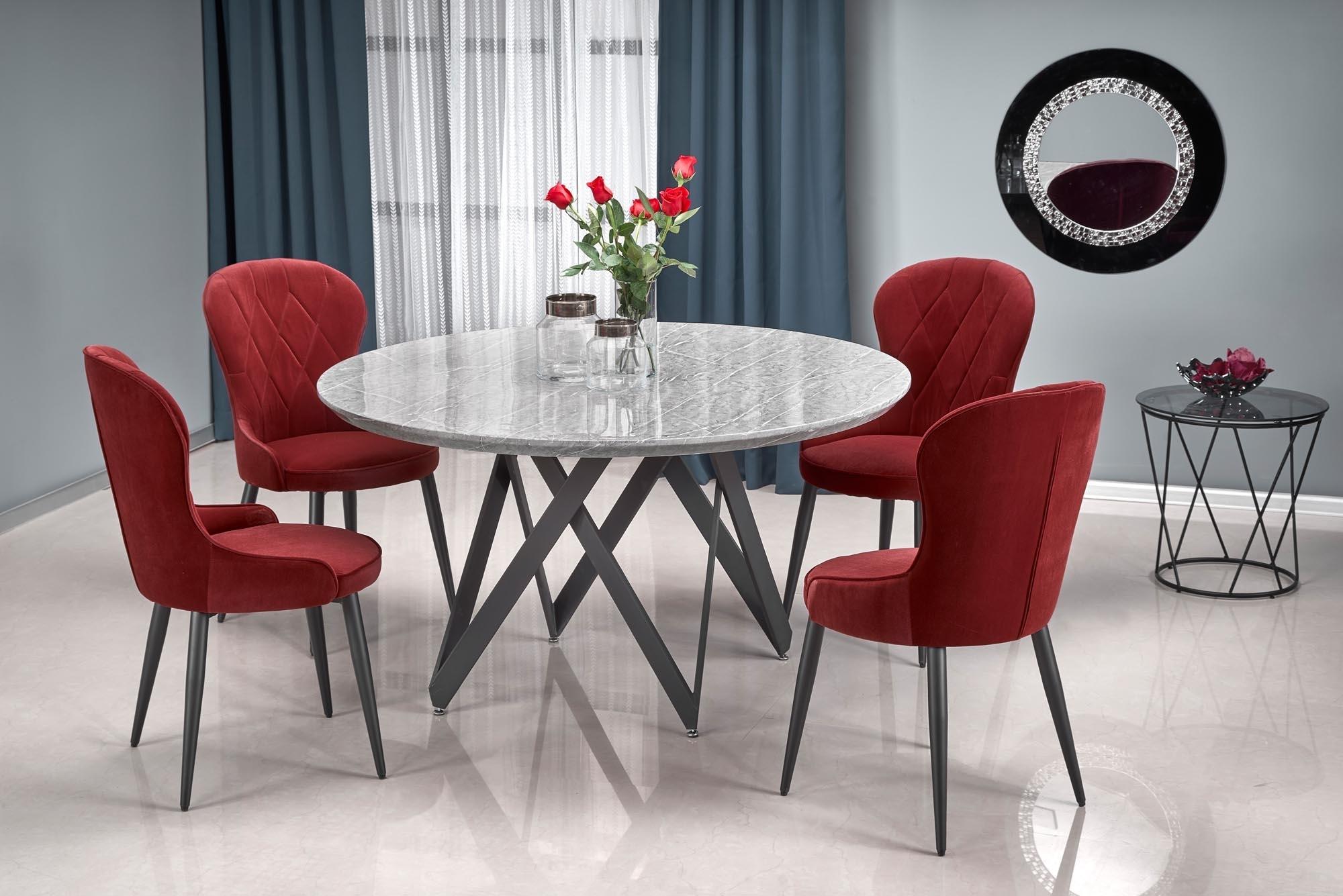 Set masa din MDF si metal Gustimo Gri / Negru + 4 scaune tapitate cu stofa K366 Bordeaux / Negru, Ø140xH77 cm somproduct.ro