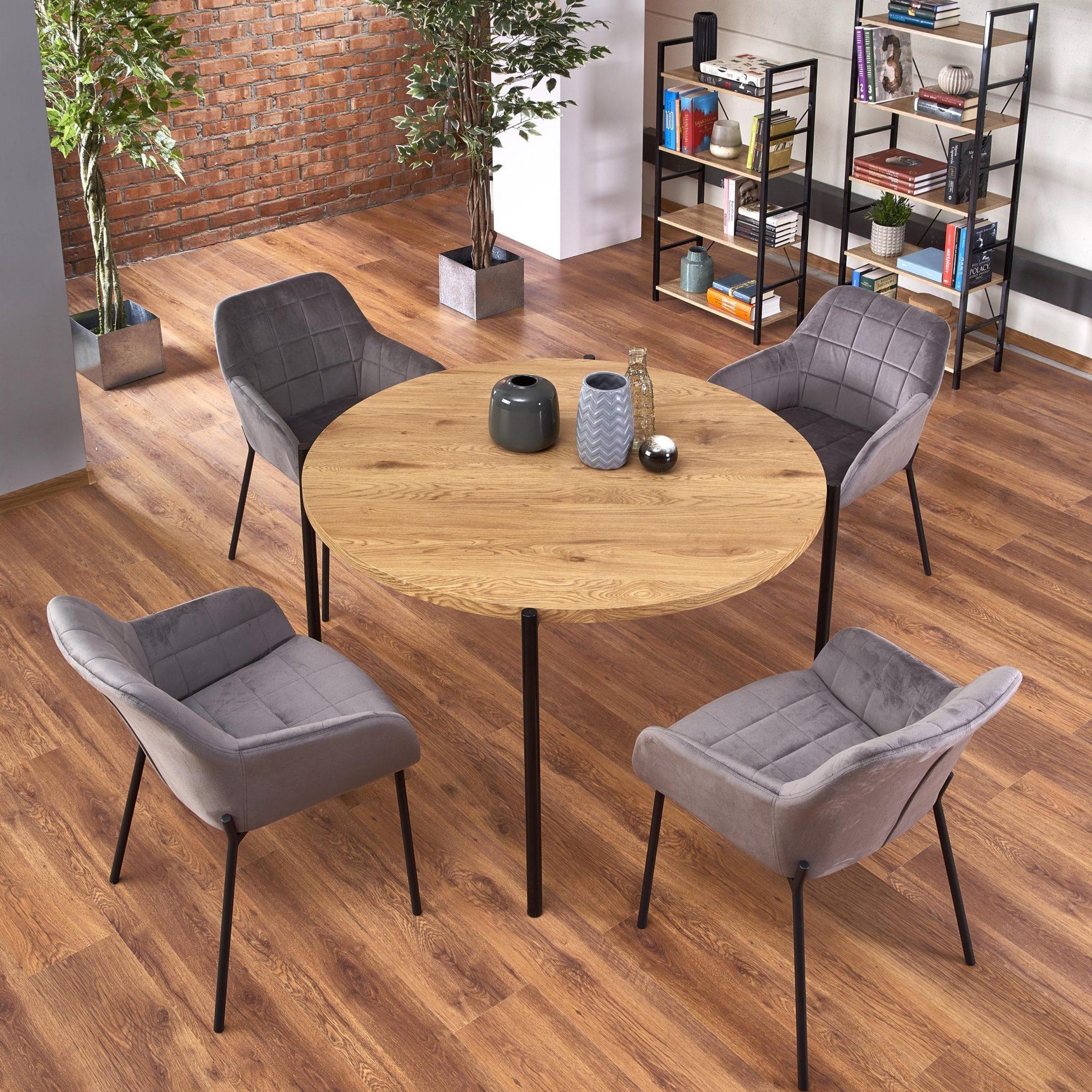 Set masa din MDF si metal Morgan Stejar / Negru + 4 scaune tapitate cu stofa K305 Gri, Ø120xH76 cm imagine