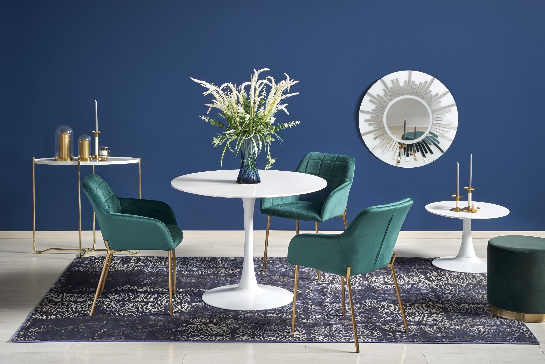 Set masa din MDF si metal Slim Alb + 3 scaune tapitate cu stofa K306 Verde inchis / Auriu, Ø100xH75 cm imagine