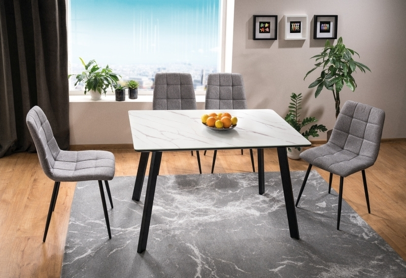 Set masa din MDF, sticla si metal Samuel Alb / Negru + 4 scaune tapitate cu stofa Mila Gri / Negru, L120xl80xH75 cm poza