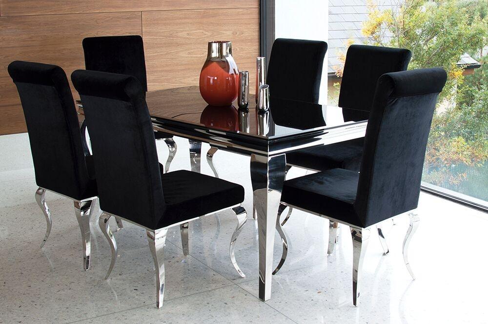 Set masa din metal si sticla Louis Black + 6 scaune tapitate cu stofa cu picioare metalice Louis Black L160xl90xH75 cm