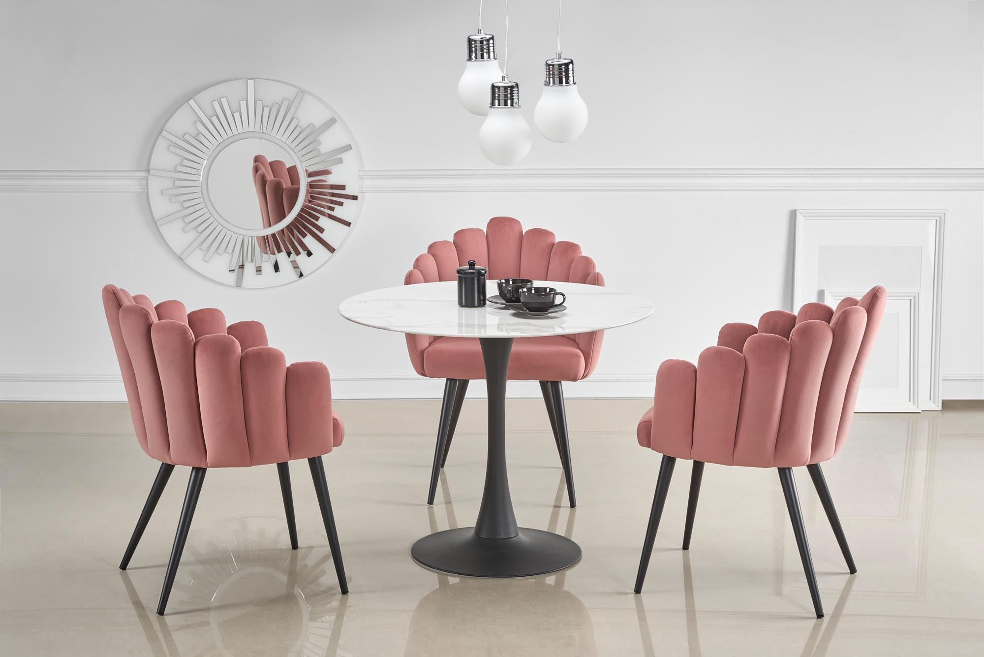 Set masa din sticla si metal Ambrosio Alb / Negru + 3 scaune tapitate cu stofa K410 Roz / Negru, Ø90xH72 cm imagine