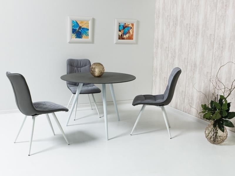 Set masa din sticla si metal Evita Gri / Alb + 4 scaune tapitate cu stofa si piele ecologica Evita Gri / Alb, Ø100xH76 cm imagine