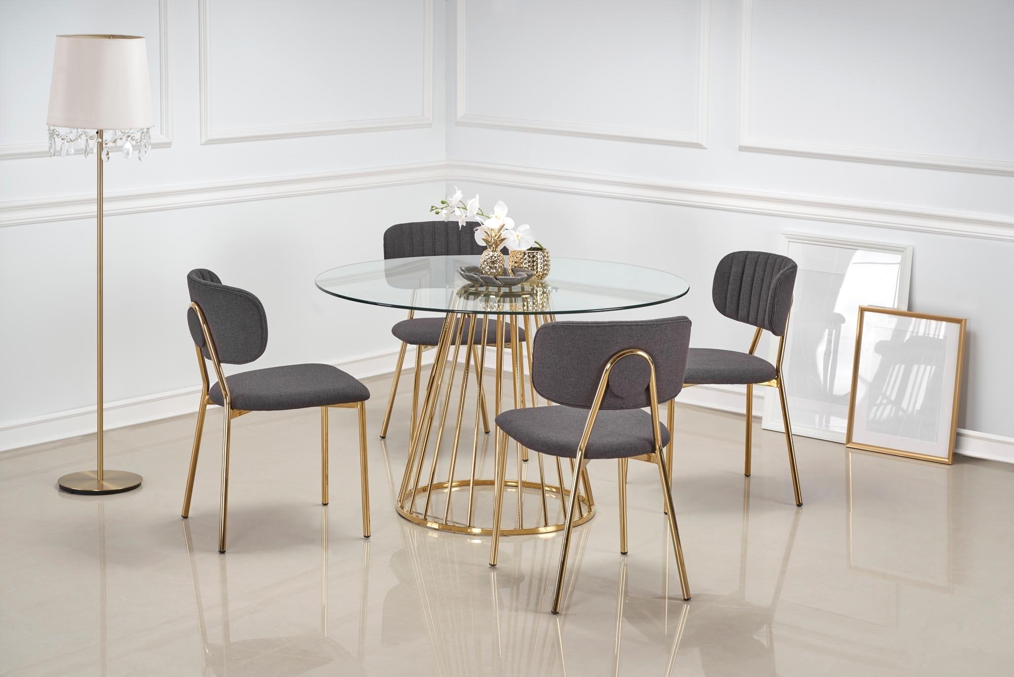 Set masa din sticla si metal Liverpool Transparent / Auriu + 4 scaune tapitate cu stofa K362 Gri / Auriu, Ø120xH75 cm poza