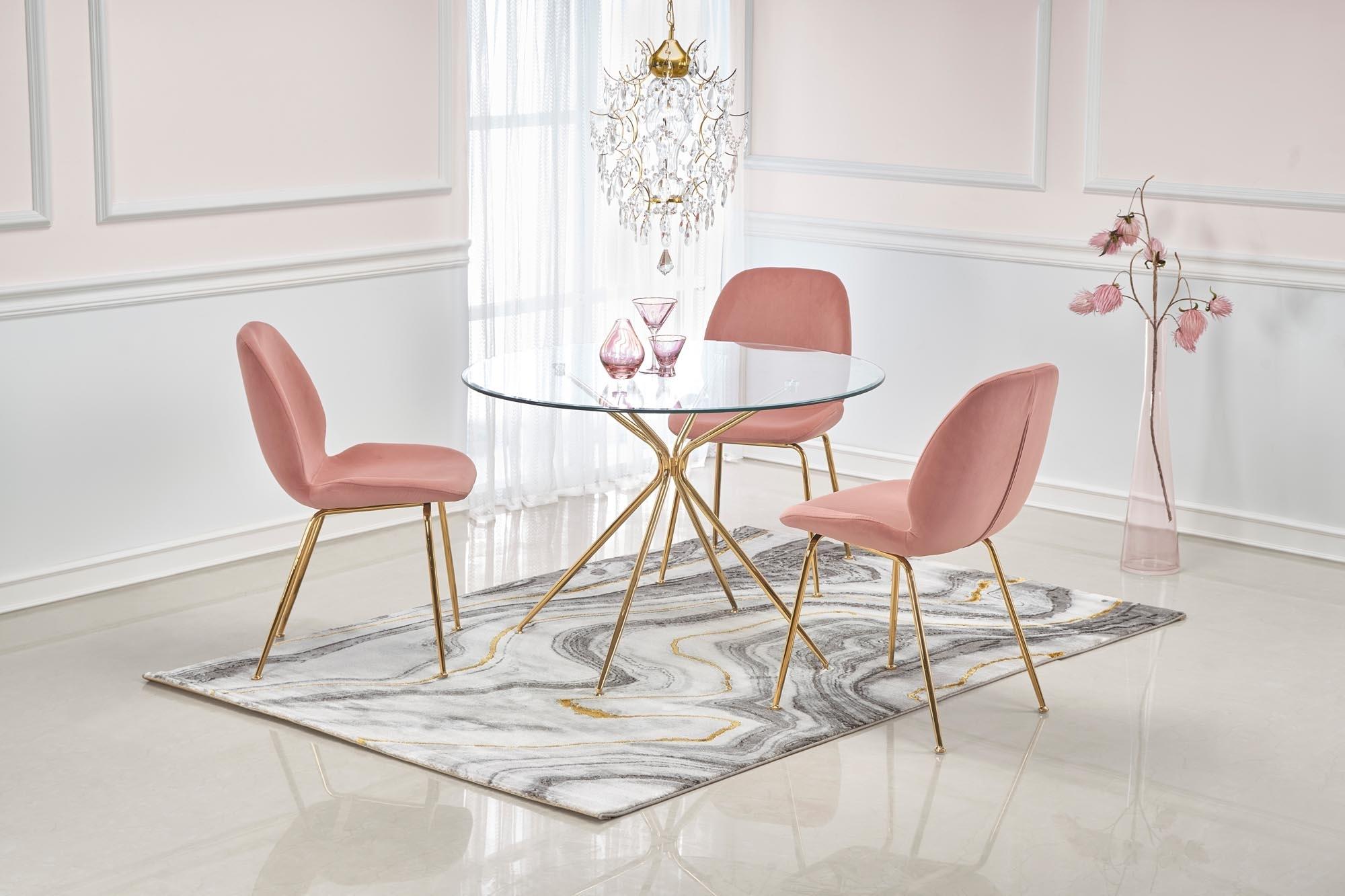 Set masa din sticla si metal Rondo Transparent / Auriu + 4 scaune tapitate cu stofa K381 Velvet Roz / Auriu, Ø110xH74 cm imagine