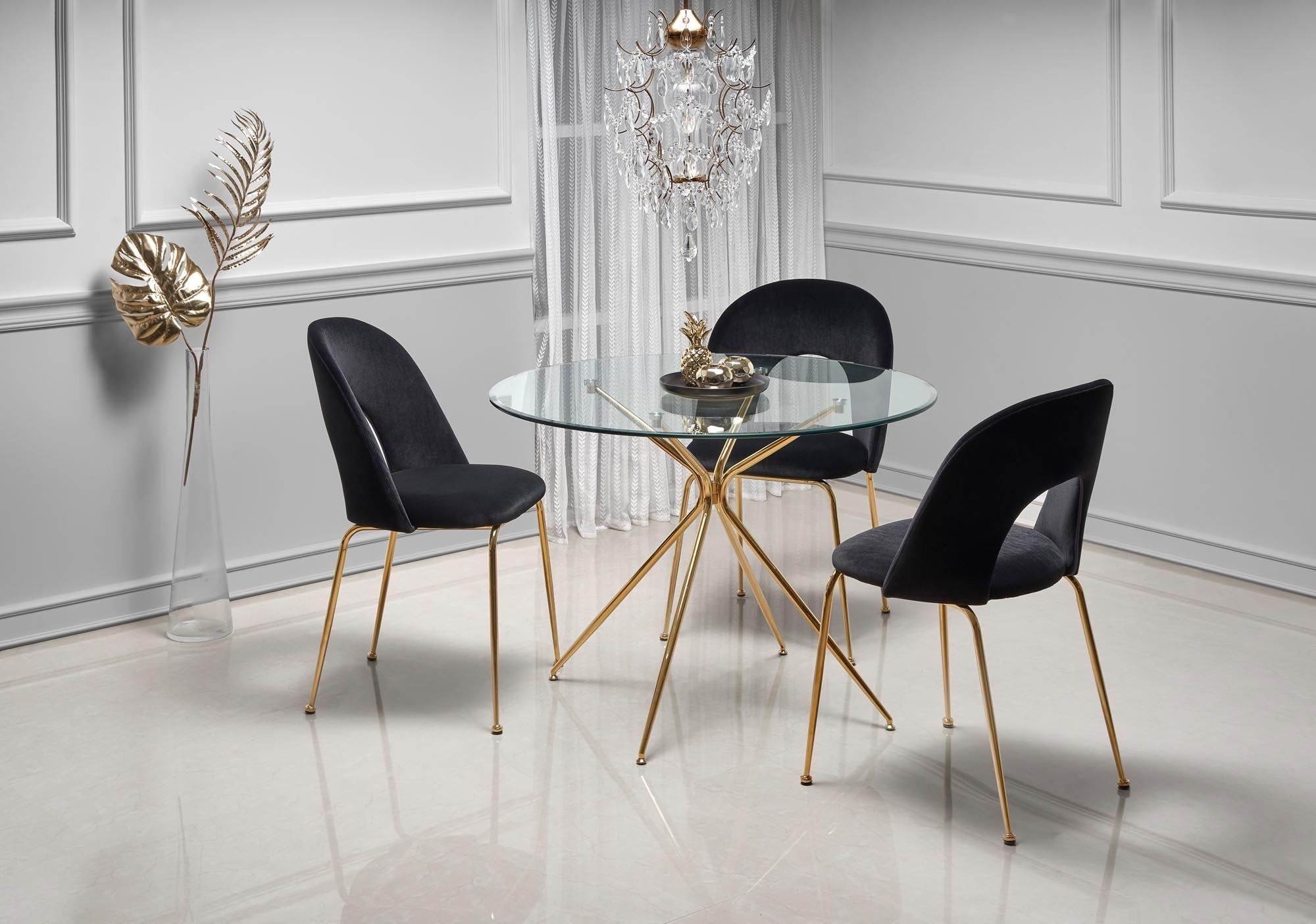 Set masa din sticla si metal Rondo Transparent / Auriu + 4 scaune tapitate cu stofa K385 Velvet Negru / Auriu, Ø110xH74 cm imagine