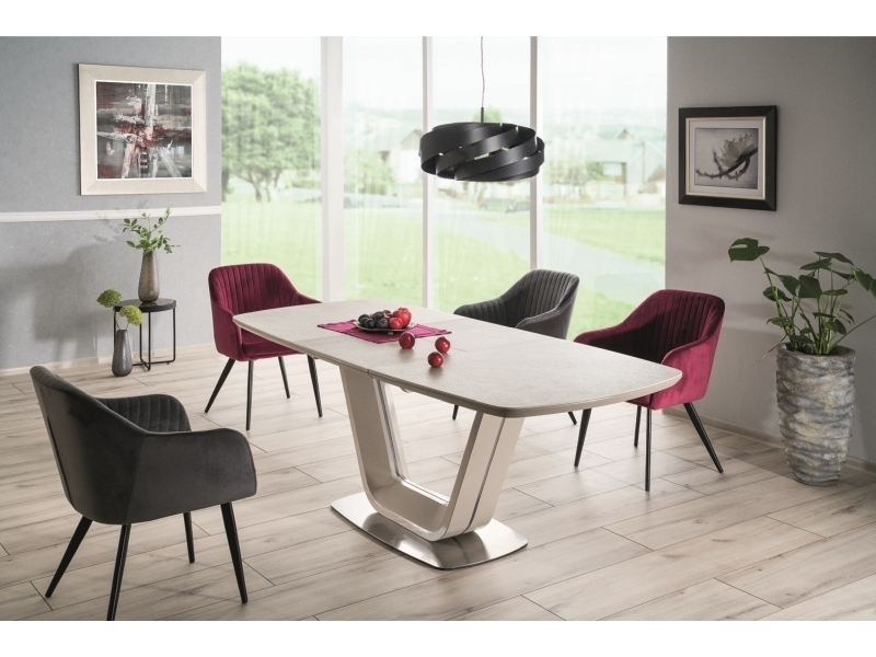 Set masa extensibila din ceramica, MDF si metal Armani Gri deschis + 2 scaune Elina Velvet Burgundy + 2 scaune Elina Velvet Gri, L160-220xl90xH76 cm imagine