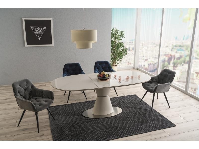 Set masa extensibila din ceramica, MDF si metal Enigma Alb + 2 scaune Cherry Velvet Bleumarin + 2 scaune Cherry Velvet Gri, L160-210xl90xH76 cm imagine