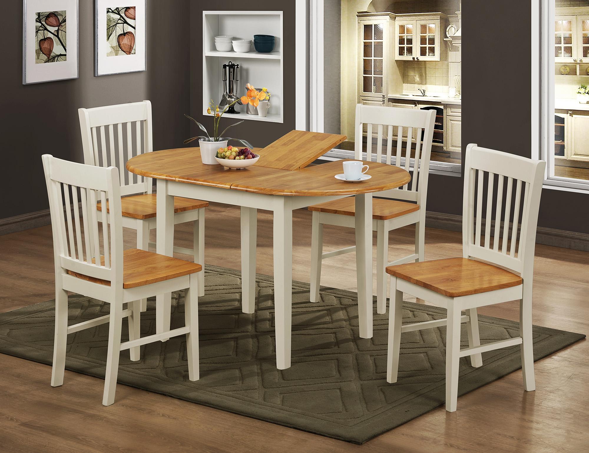 Set masa extensibila din lemn de cauciuc + 4 scaune Stacy Ivory / Oak L105-135xl80xH74 cm