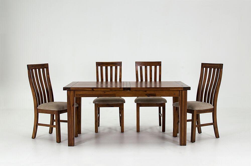 Set masa extensibila din lemn de salcam + 4 scaune cu sezut tapitat cu stofa Emerson Brown L120-160xl90xH77 cm