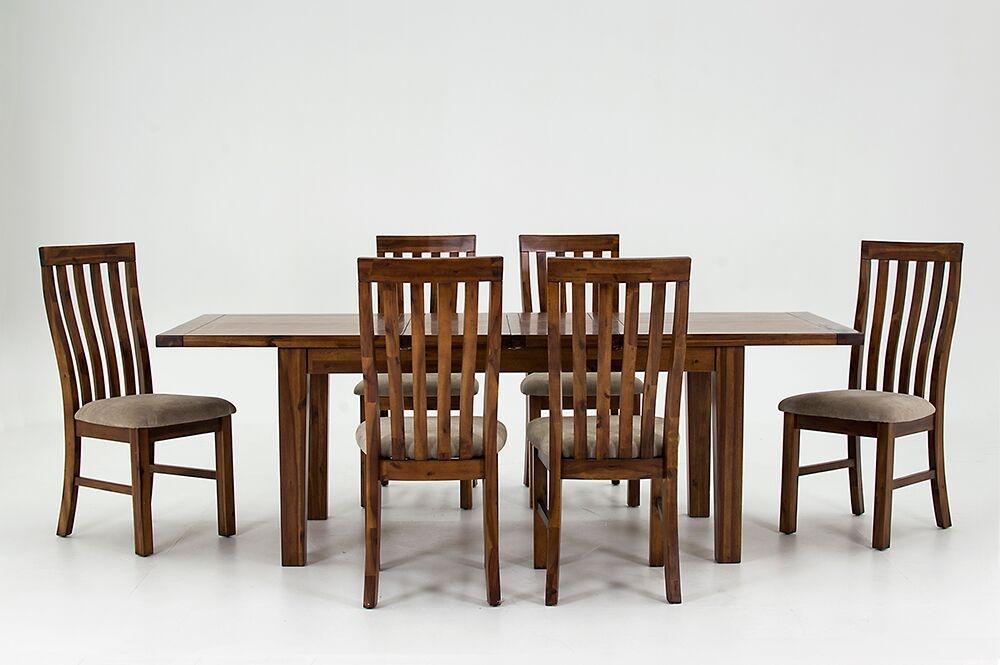 Set masa extensibila din lemn de salcam + 6 scaune cu sezut tapitat cu stofa Emerson Brown L160-230xl90xH77 cm