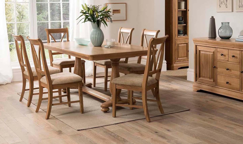 Set masa extensibila din lemn de stejar si furnir + 6 scaune cu sezut tapitat cu stofa Carmen Oak L180-230xl100xH755 cm