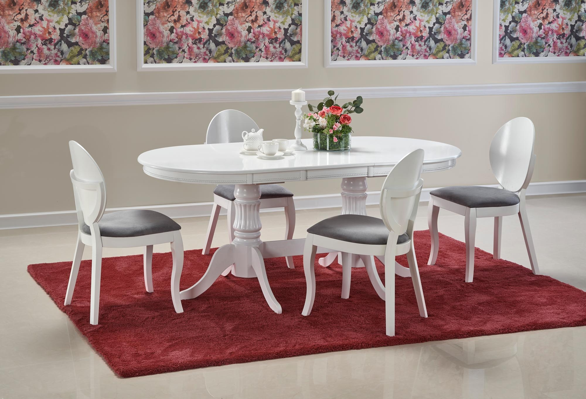 Set masa extensibila din lemn si MDF Joseph Alb + 4 scaune din lemn de fag tapitate cu stofa Verdi Alb / Gri, L150-190xl90xH77 cm imagine