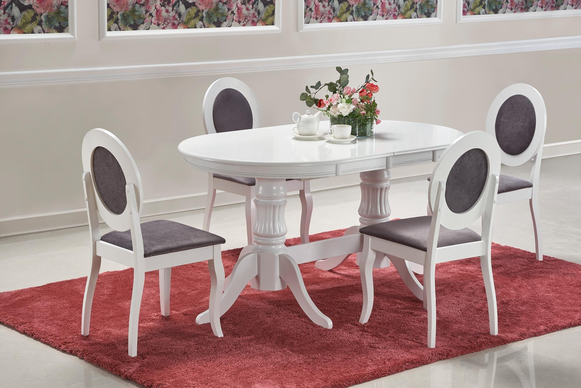 Set masa extensibila din lemn si MDF Joseph Alb + 4 scaune tapitate cu stofa Barock Alb / Gri, L150-190xl90xH77 cm poza