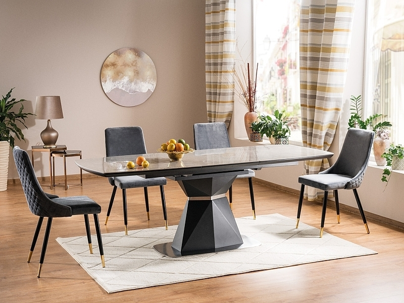 Set masa extensibila din MDF, ceramica si metal Cortez Gri + 4 scaune tapitate cu stofa Piano Velvet Gri / Negru / Auriu, L160-210xl90xH76 cm