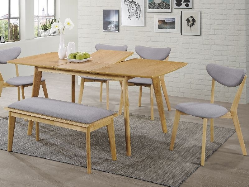 Set masa extensibila din MDF, furnir si lemn Brando + 4 scaune tapitate cu stofa Brando Gri + 1 banca tapitata cu stofa Brando Gri / Stejar, L120-160xl80xH75 cm poza