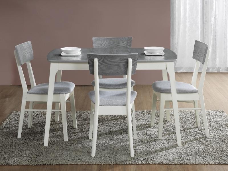 Set masa extensibila din MDF, furnir si lemn Roscoe Gri / Alb + 4 scaune din lemn, tapitate cu stofa Apsel Gri / Alb, L120-155xl80xH75 cm