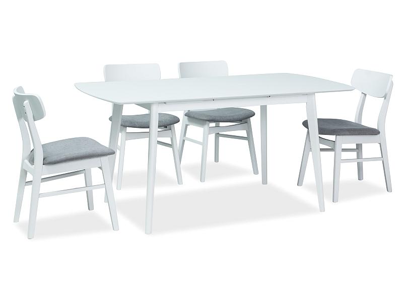 Set masa extensibila din MDF si lemn Combo II Alb + 4 scaune din lemn, tapitate cu stofa Frans Gri / Alb, L120-160xl80xH75 cm poza
