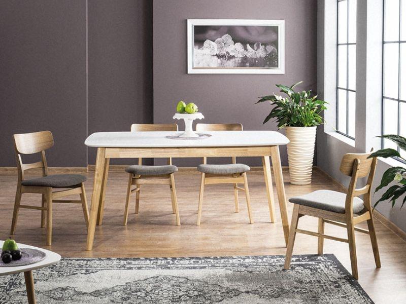 Set masa extensibila din MDF si lemn Felicio II Alb / Stejar + 4 scaune tapitate cu stofa CD-61 Gri / Stejar, L150-190xl90xH75 cm imagine