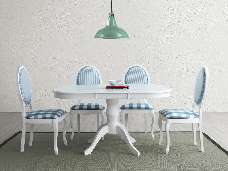 Set masa extensibila din MDF si lemn Florencja Alb + 4 scaune din lemn tapitat cu stofa LV-SC Alb / Albastru, L106-141xl106xH75 cm