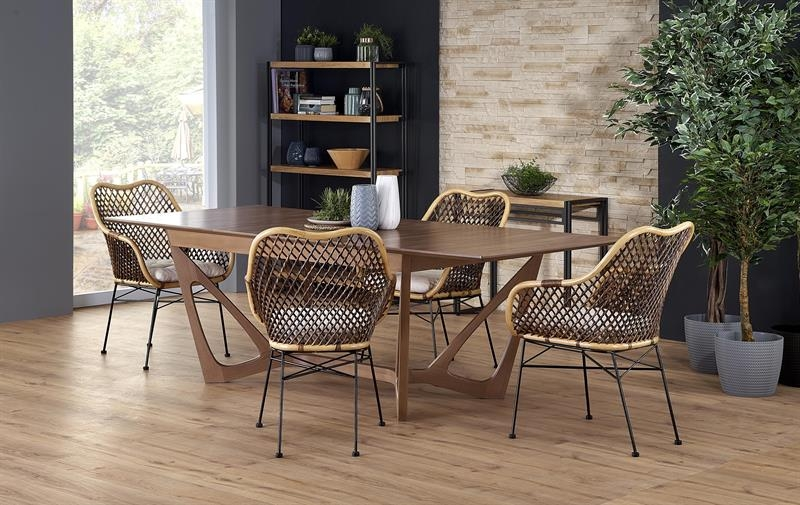 Set masa extensibila din MDF si lemn Wenanty Nuc + 4 scaune din ratan K336 Natural, L160-240xl100xH77 cm imagine