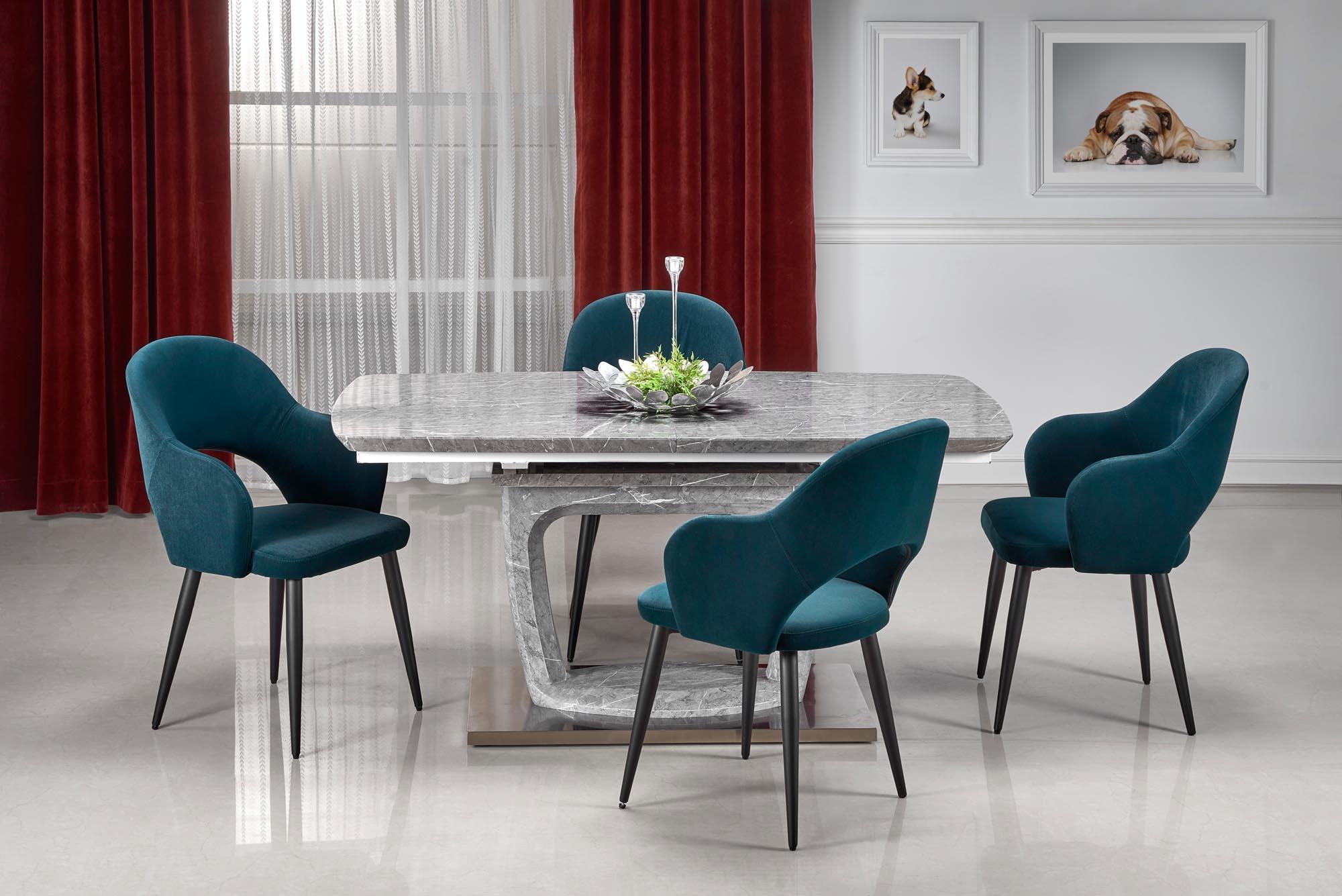 Set masa extensibila din MDF si metal Artemon Gri + 4 scaune tapitate cu stofa K364 Verde inchis / Negru, L160-220xl90xH76 cm imagine