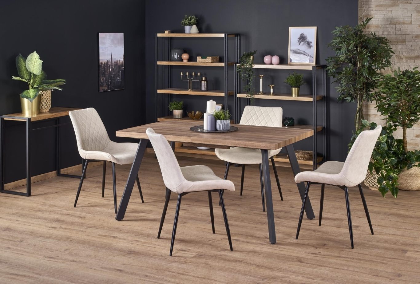 Set masa extensibila din MDF si metal Berlin Nuc auriu + 4 scaune tapitate cu piele ecologica K313 Bej, L140-180xl85xH76 cm poza