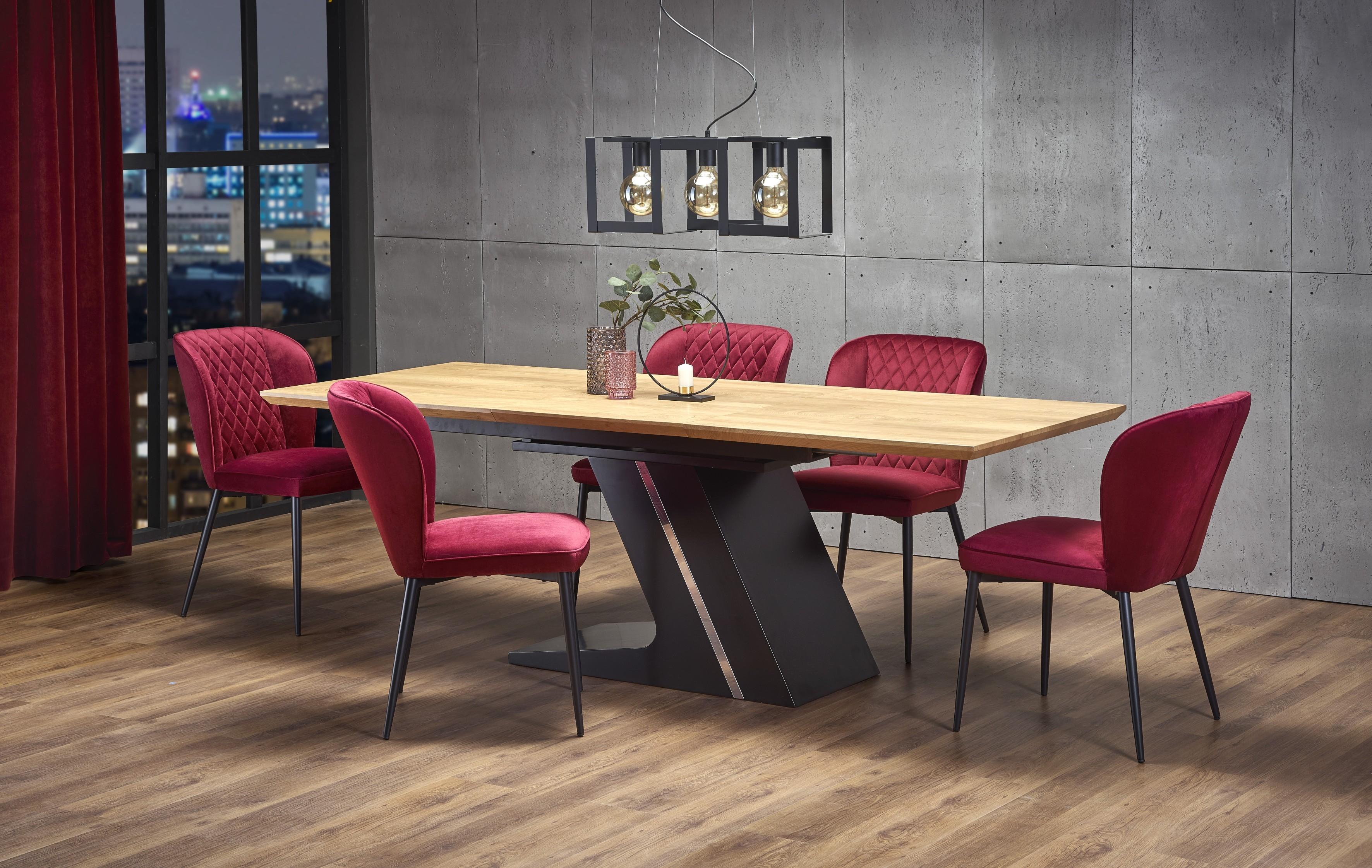 Set masa extensibila din MDF si metal Ferguson Stejar / Negru + 6 scaune tapitate cu stofa K399 Bordeaux, L160-220xl90xH75 cm imagine