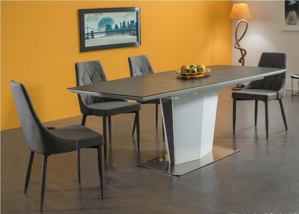 Set masa extensibila din MDF si metal Lazzio White / Grey + 4 scaune tapitate Trix Grey, L160-210xl95xH76 cm imagine