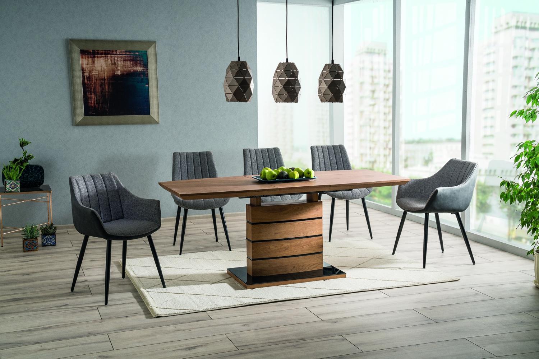 Set masa extensibila din MDF si sticla Leonardo Large Stejar / Negru + 4 scaune tapitate Zoom Gri / Negru + 2 scaune tapitate Bruno Gri / Negru, L160-220xl90xH76 cm imagine