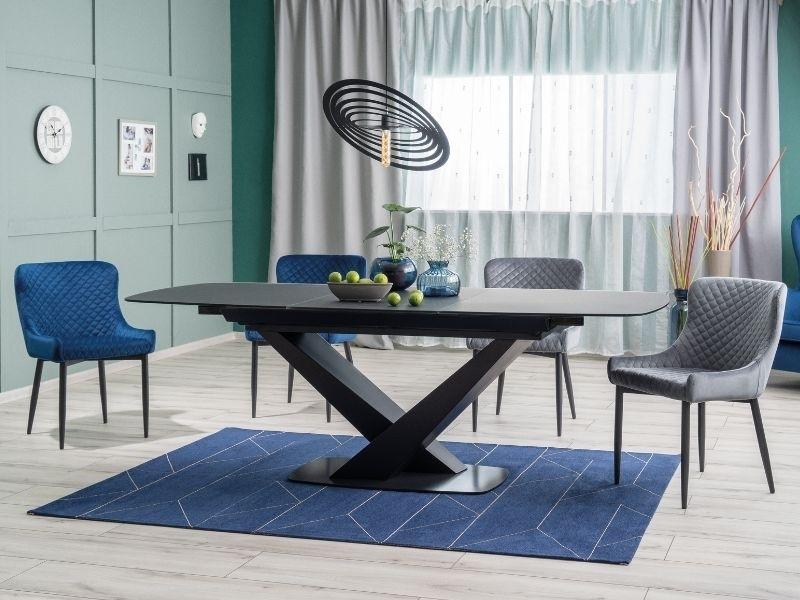 Set masa extensibila din MDF, sticla si metal Cassino Negru + 2 scaune tapitate Colin B Velvet Gri + 2 scaune tapitate Colin B Velvet Bleumarin, L160-220xl90xH76 cm imagine