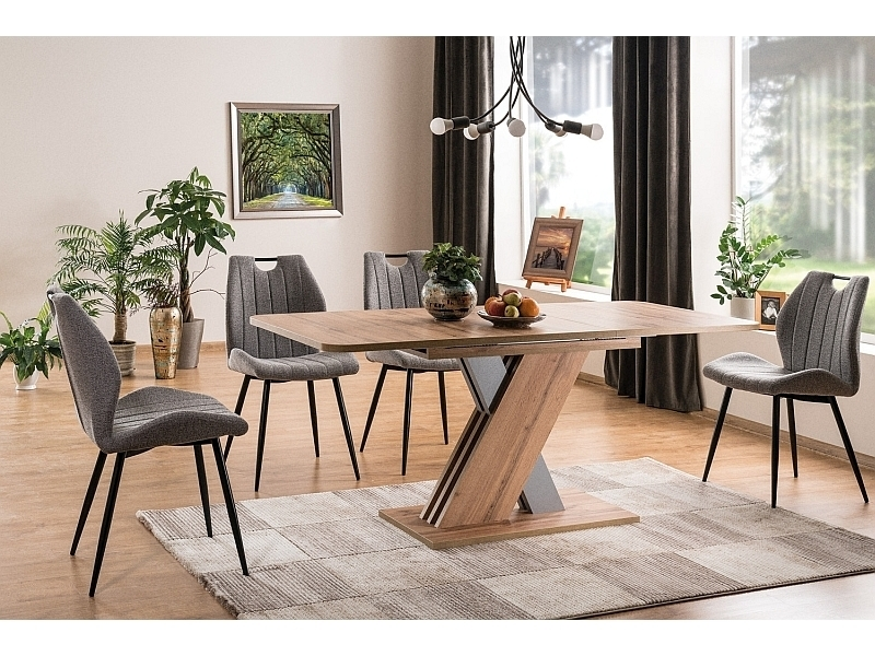 Set masa extensibila din pal Exel Stejar Wotan / Gri + 4 scaune tapitate cu stofa Arco Gri / Negru, L140-180xl85xH76 cm poza