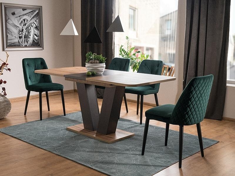 Set masa extensibila din pal Platon Stejar Wotan / Maro + 4 scaune tapitate cu stofa Duran Velvet Verde / Negru, L136-176xl80xH76 cm imagine