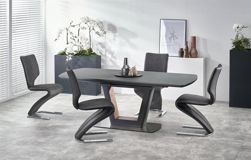 Set masa extensibila din sticla si MDF Bilotti Antracit + 4 scaune tapitate cu stofa si piele ecologica K307 Gri inchis / Negru, L160-200xl90xH76 cm imagine