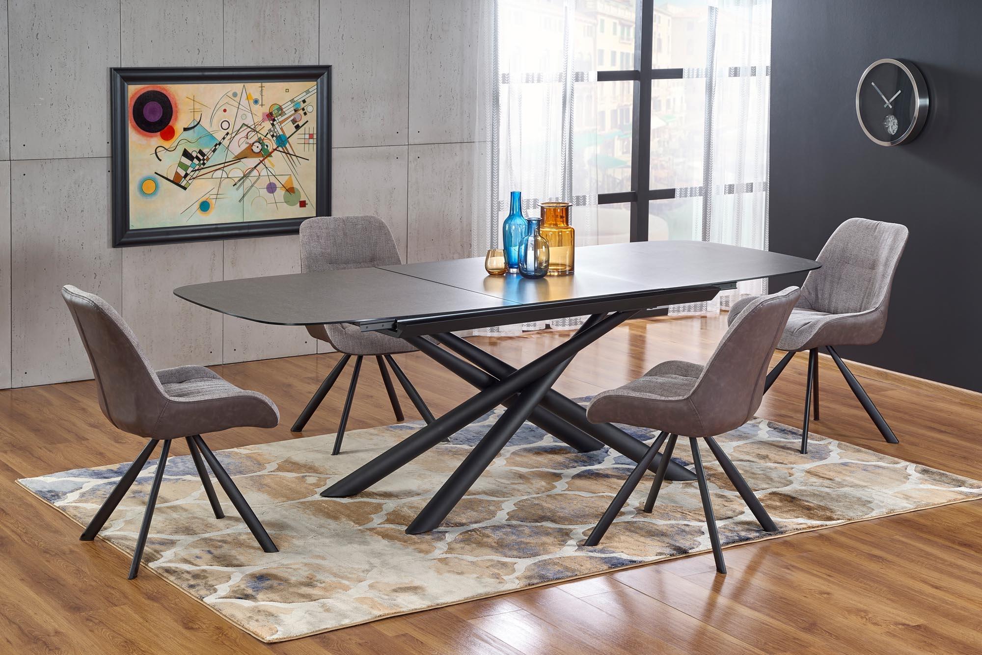 Set masa extensibila din sticla si metal Capello Gri inchis / Negru + 4 scaune tapitate cu stofa si piele ecologica K393 Gri deschis / Maro L180-240xl95xH77 cm imagine