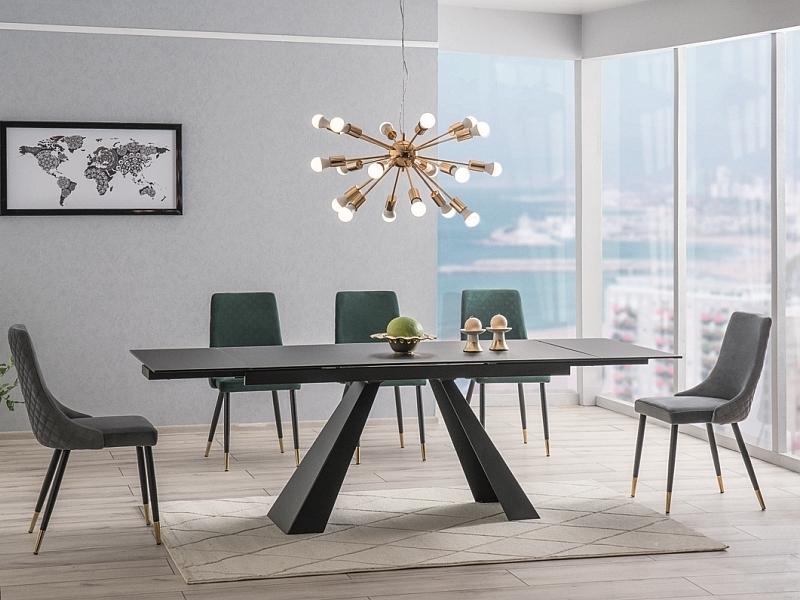 Set masa extensibila din sticla si metal Salvadore Negru + 2 scaune Piano Velvet Gri + 4 scaune Piano Velvet Verde, L160-240xl90xH76 cm imagine