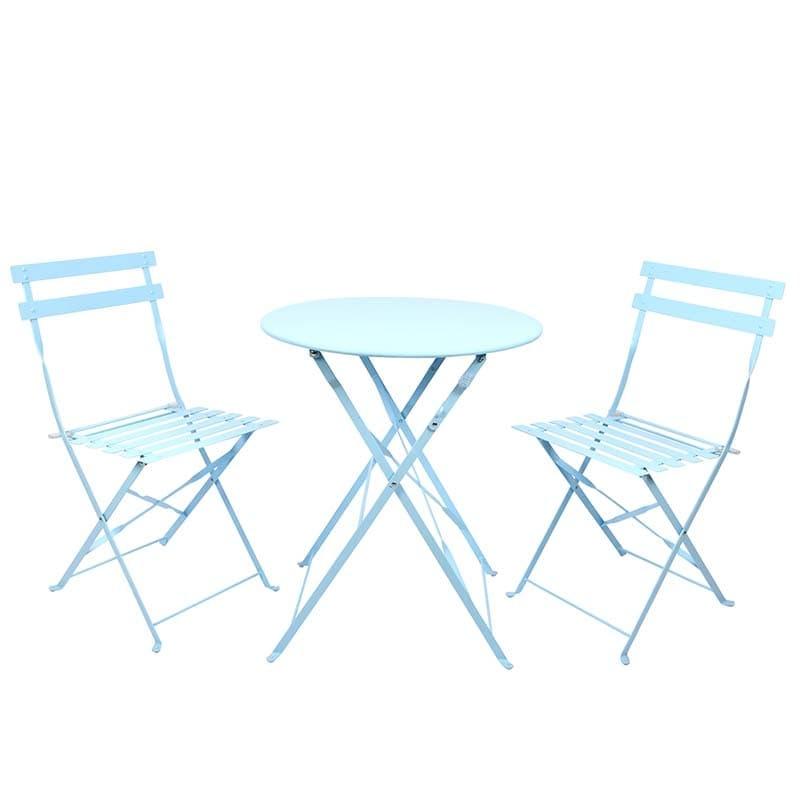 Set masa si 2 scaune pliabile pentru gradina, din metal, Shades Albastru, Ø60xH70 cm