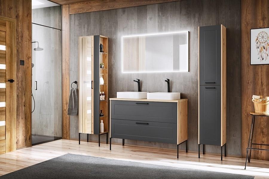 Set Mobilier pentru baie, 6 piese, Madera Grafit / Stejar poza