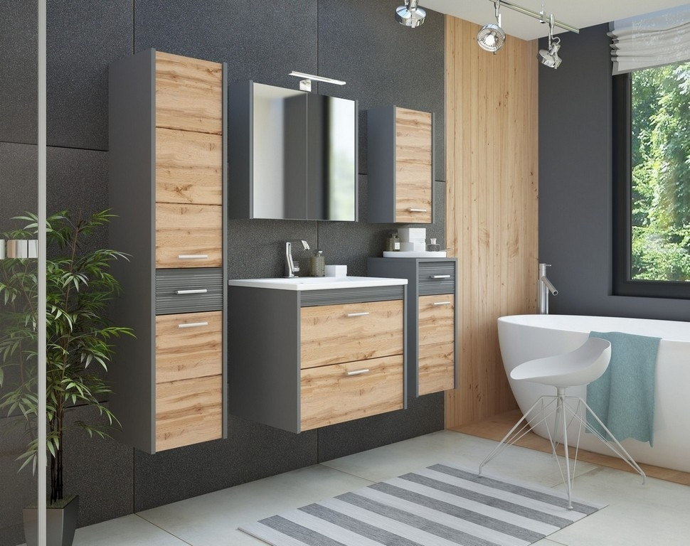 Set Mobilier pentru baie, 7 piese, Ibiza Antracit imagine