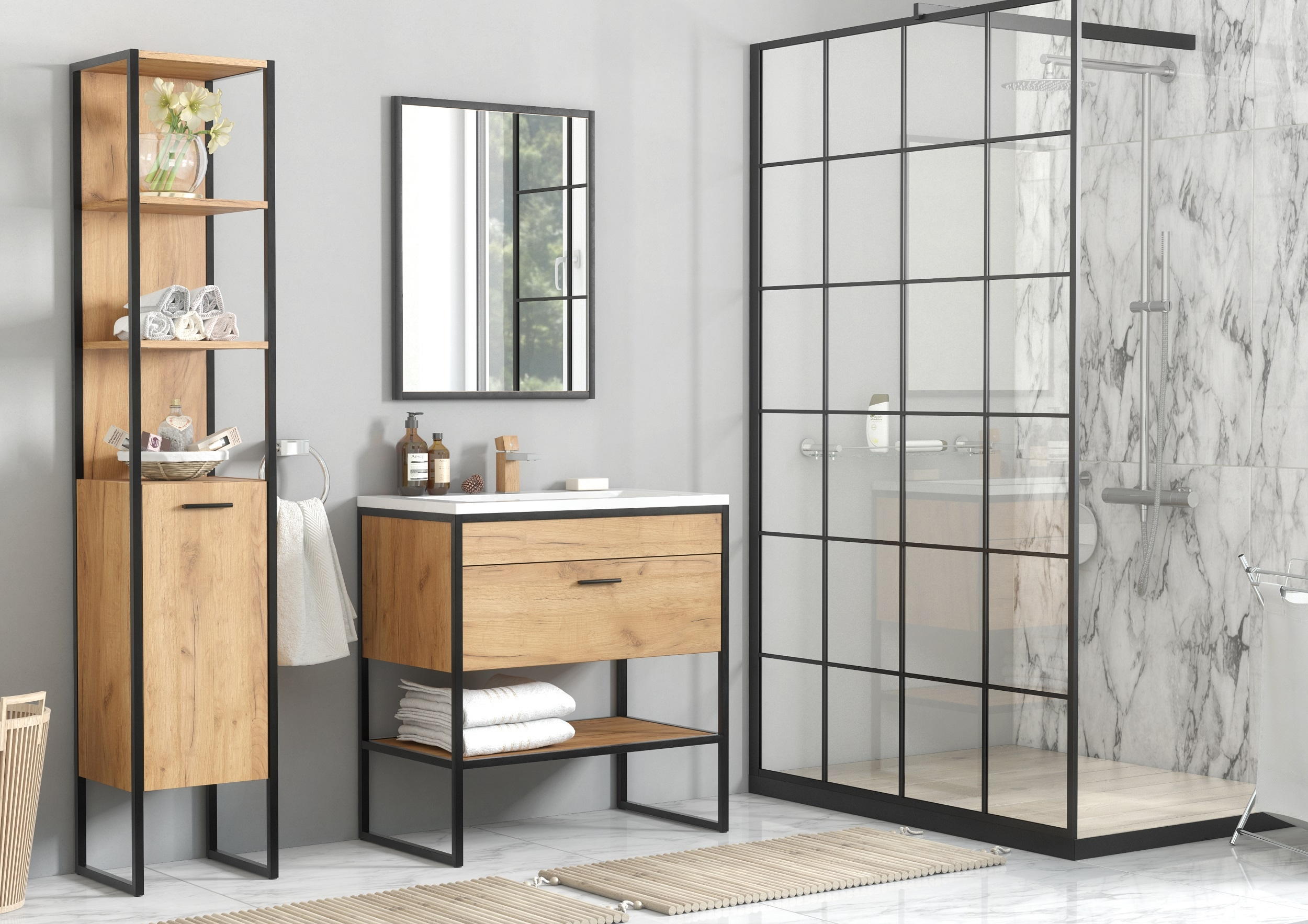 Set Mobilier pentru baie, 4 piese, Brooklin XL imagine