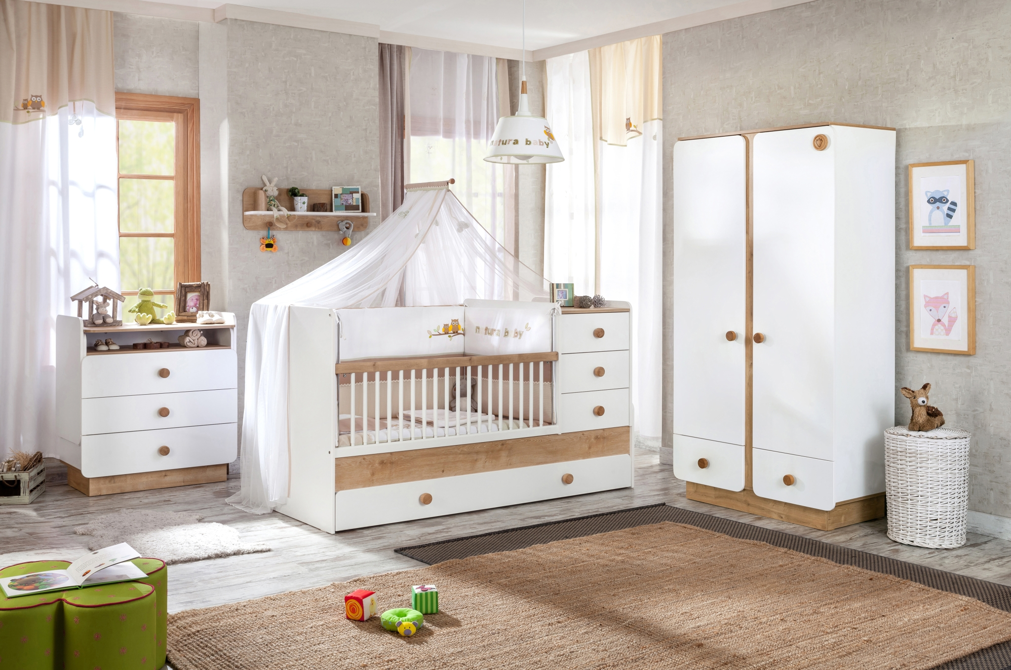 Set Mobila din pal pentru camera bebe 4 piese Natura Baby White / Nature